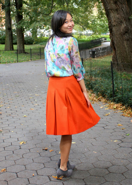 Modest Orange Midi Skirt