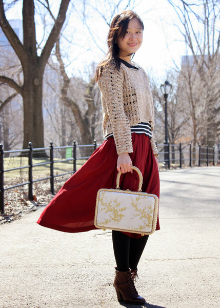 Modest Red Midi Skirt