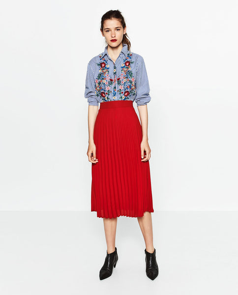 Modest Pleated Red Skirt