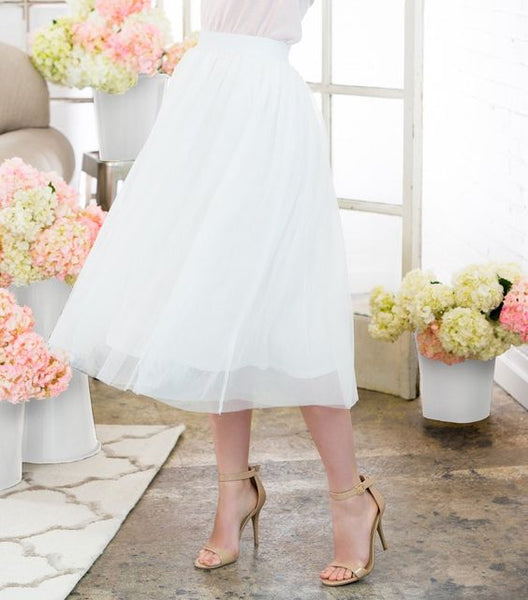 Modest White Tulle Skirt