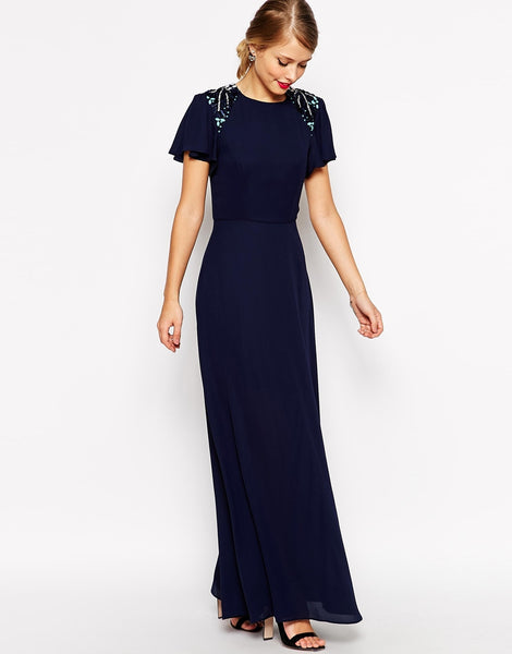 dress for guest of wedding. embellished maxi dress $118 for guest of wedding