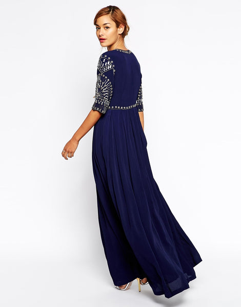 Modest Maxi Dresses with sleeves for Wedding Guests | Mode-sty