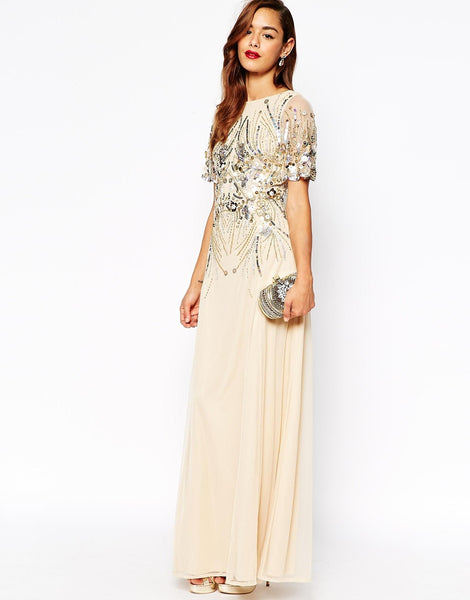 Modest Maxi Dresses with sleeves for Wedding Guests Modesty