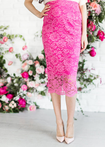 Modest Pink Lace Skirt