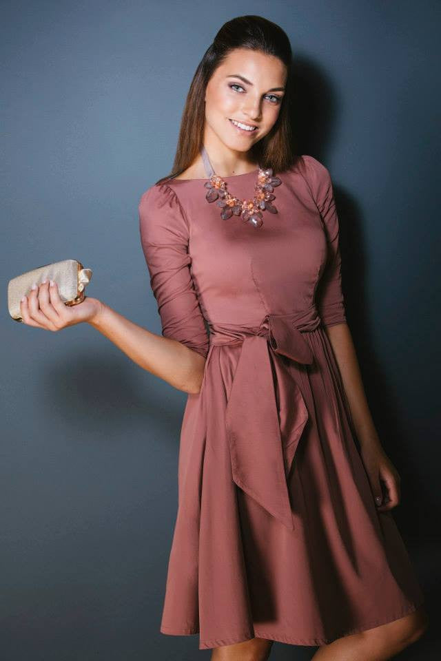 Modest dusty rose pink midi dress with 3/4 sleeves