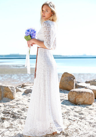 Modest lined white lace maxi dress with sleeves temple - Mode-sty