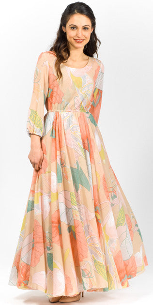 Modest lace and floral printed ankle length dress Mode sty