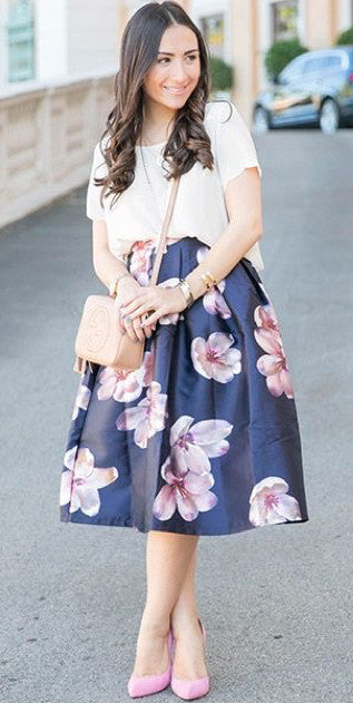 modest knee length floral print midi below knee skirt