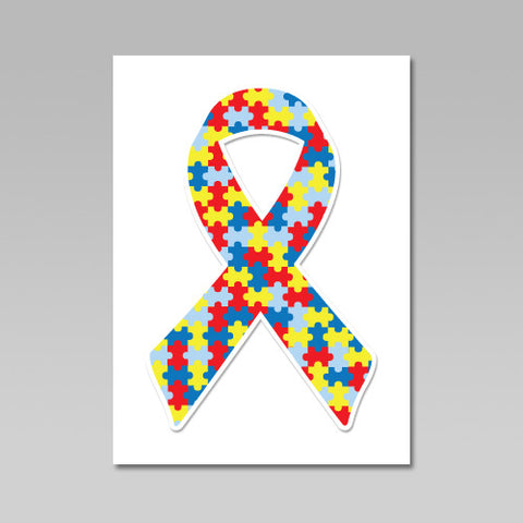 Autism Awareness Puzzle Ribbon Heat Transfers