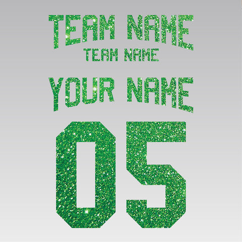 Custom Lower Arched Text Team Set Iron-On Transfer (Glitter Flake)