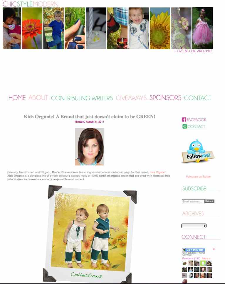 Kids Organic Cotton Clothing Brand - Chic Style Modern Press Release