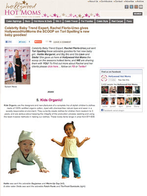 Kids Organic Cotton Clothing  - Celebrity Baby Trend - Press Release Hollywood Hot Moms