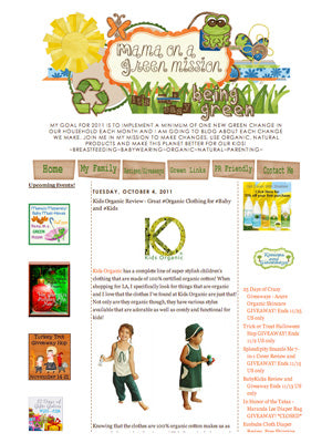 Kids Organic Cotton Clothing - Press Release Mama on a Green Mission