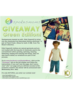 Giveaway Natural Baby Clothes - SpokesMoms Contest for Kids Organic Cotton Clothing