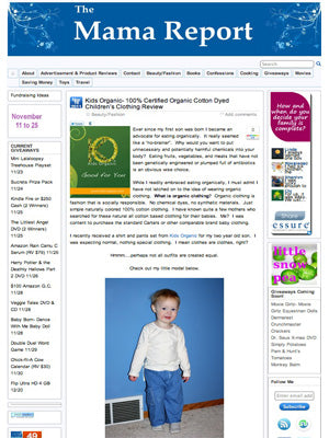 The Mama Report - Press Release about Kids Organic Cotton Clothing for Babies