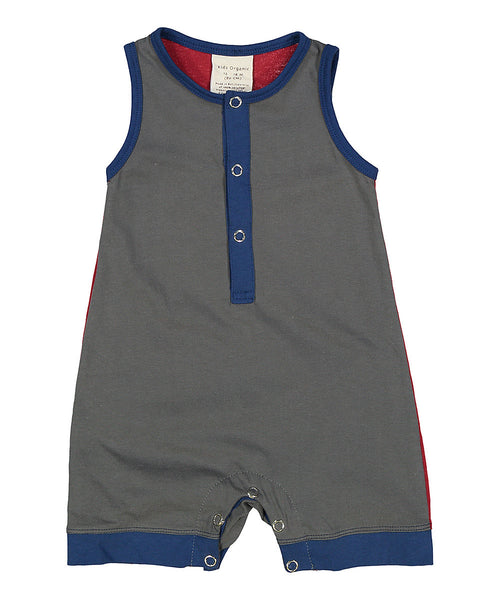 Playsuit: Fashion Block Color Sleeveless Shortall