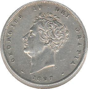 1827 SHILLING ( VF ) WITH SLIGHT DAMAGE