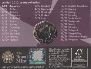 London 2012 Athletics Brilliant Uncirculated 50p Sports Coin protected in a clear acrylic coin Airtile capsule Holder