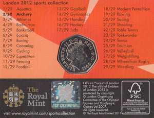 2011 Royal Mint London 2012 Olympic 50p Sports Collection Pack BU Album Archery