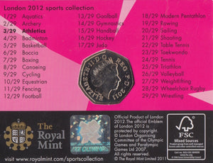 2011 Royal Mint London 2012 Olympic 50p Sports Collection Pack BU Album Athletics