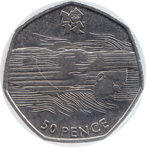 2011 CIRCULATED LONDON OLYMPIC 2012 50p AQUATICS