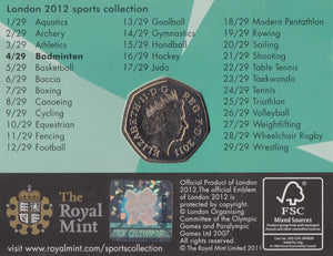 2011 Royal Mint London 2012 Olympic 50p Sports Collection Pack BU Album Badminton