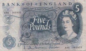 £5 BANK OF ENGLAND HOLLOM BANK NOTE REF 24