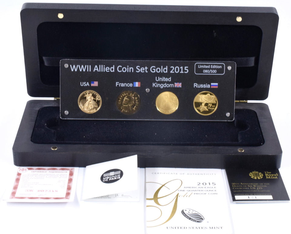 2015 Fine Gold Proof WWII Allied 4 Coin Quarter Ounce Set Box