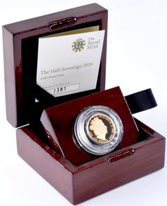 2016 Gold 22ct Proof Half Sovereign Pistrucci Coin BOX + COA Bullion Royal Mint