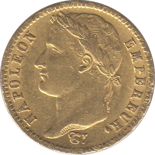 1813 GOLD FRANCE 20 FRANCS NAPOLEON 900 6.45 GRAMS