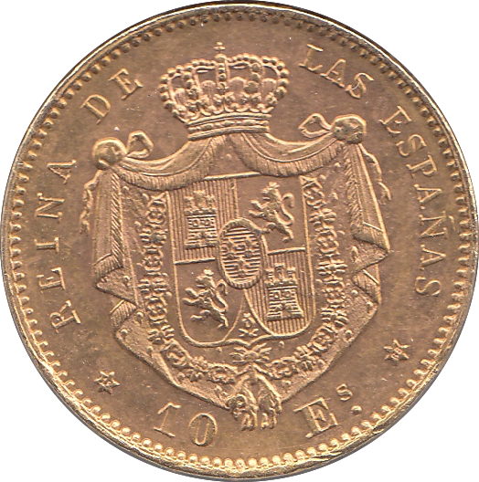 1868 GOLD SPAIN 10 ESCUDOS 900 8.4 GRAMS