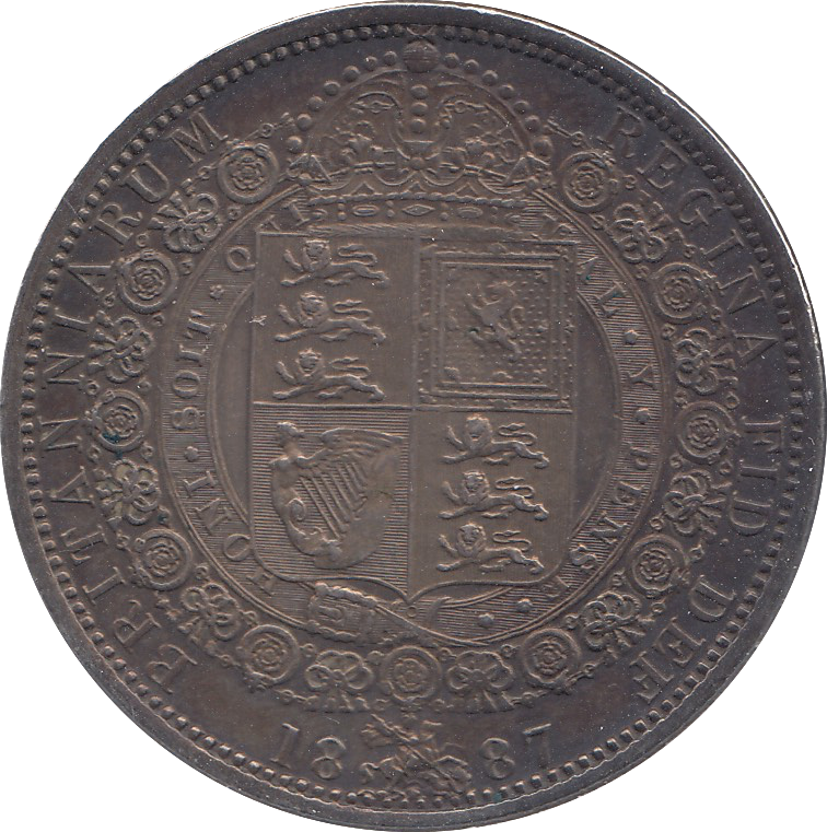1887 HALFCROWN ( AUNC ) TONED