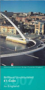 Brilliant Uncirculated £1 Coin Presentation Pack Gateshead Millennium Bridge England 2007