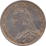 1887 SIXPENCE ( VF ) enamelled