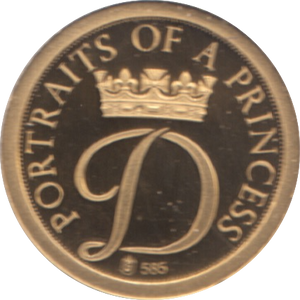 1997  GOLD PROOF PORTRAIT OF A PRINCESS DIANA PRINCESS OF WALES A PRINCESS REF 21