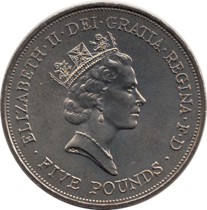 1990 BRILLIANT UNCIRCULATED £5 90th BIRTHDAY QUEEN MOTHER