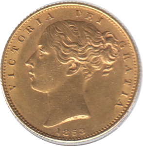 1853 SOVEREIGN ( EF ) REF 26 SHIELD BACK