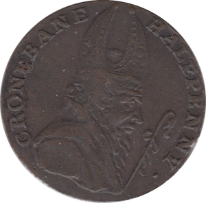 18TH CENTURY HALFPENNY TOKEN WICKLOW BISHOP CRONBANE ARMS WITH CROWNED HEAD DH61 ( REF 200 )