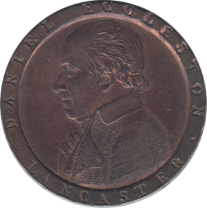 1794 HALFPENNY TOKEN LANCASHIRE BUST OF ECCLESTON SHIP AND PLOUGH DH58 ( REF 255 )