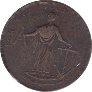 1795 HALFPENNY TOKEN CORK BUGLE AND ARMS JUSTICE HOLDING ANCHOR ( REF 193 )
