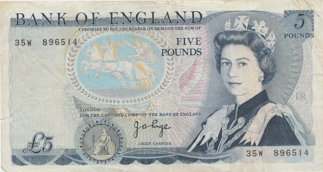 £5 BANK OF ENGLAND PAGE BANK NOTE REF UK18