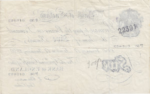 1950 JANUARY 17TH LONDON BANK OF ENGLAND WHITE FIVE POUND NOTE REF UK1