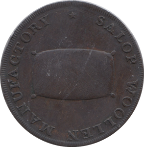 1793 HALFPENNY TOKEN SHROPSHIRE SHREWSBURY SHIELD OF ARMS SALOP WOOLPACK DH19 ( VF ) ( REF 157 )