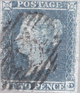 TWO PENNY BLUE STAMP 2 MARGINS VICTORIAN SG 14 REF 6