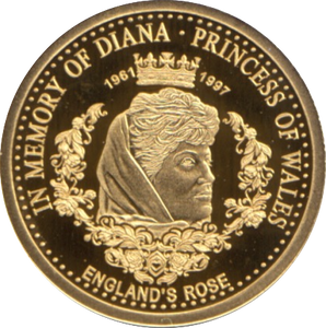 2017 GOLD PROOF  5 DOLLARS  COOK ISLANDS   DIANA ENGLAND'S ROSE WITH COA . REF 38