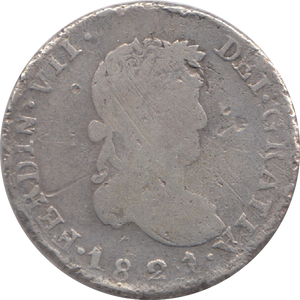 1821 SILVER MEXICO 2 ROULES