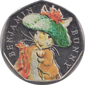 2017 BENJAMIN BUNNY COLOURED CIRCULATED BEATRIX COIN