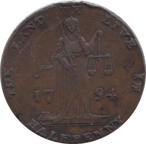 1794 HALFPENNY TOKEN DUBLIN JUSTICE L AND R CYPHER HAROLDS CROSS DH338  ( REF 194 )