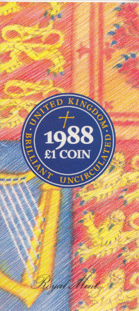 Brilliant Uncirculated £1 Coin Presentation Pack United Kingdom 1988