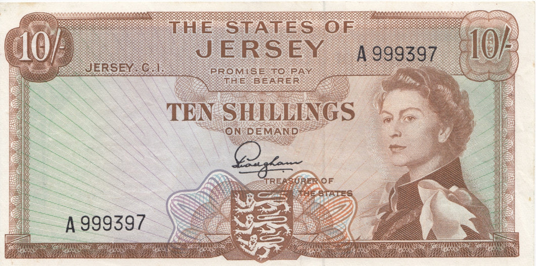 1963 JERSEY 10 SHILLINGS BANK NOTE 1
